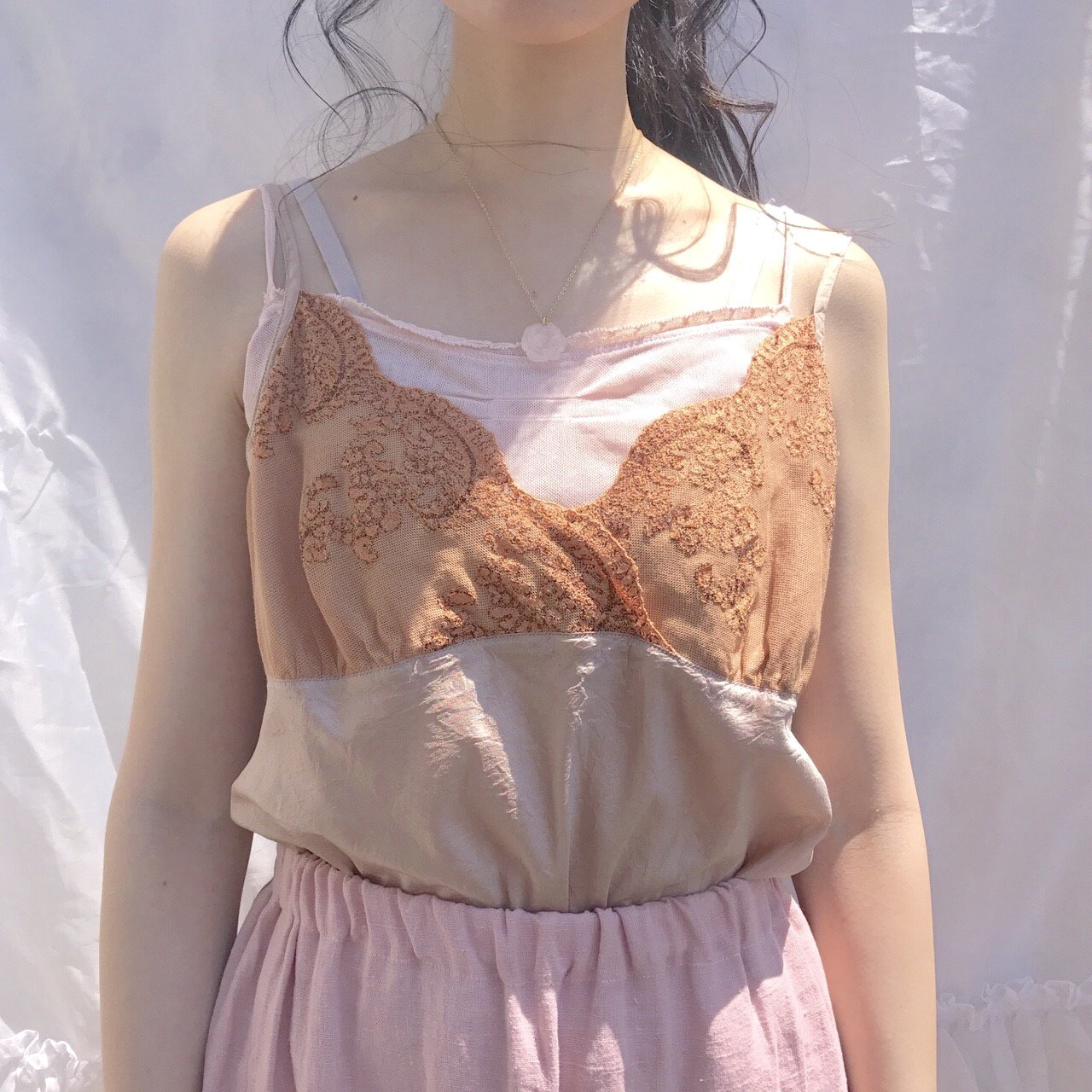 bronze lace silk camisole