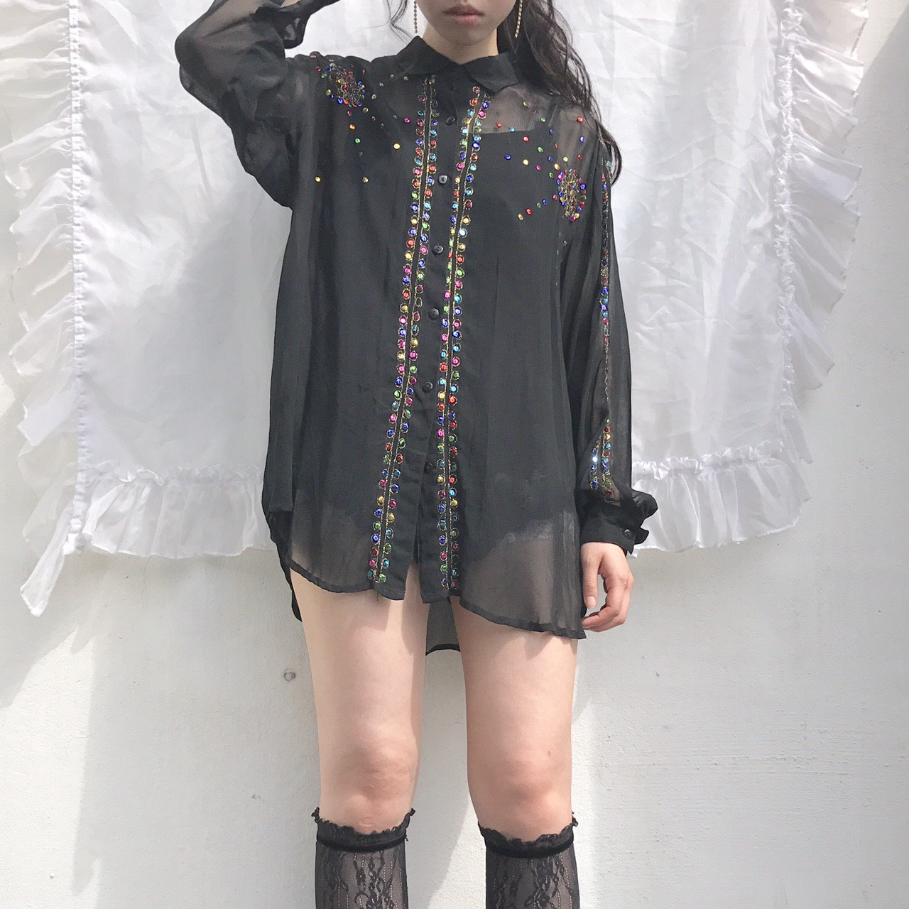 spangle  black sheer shirts