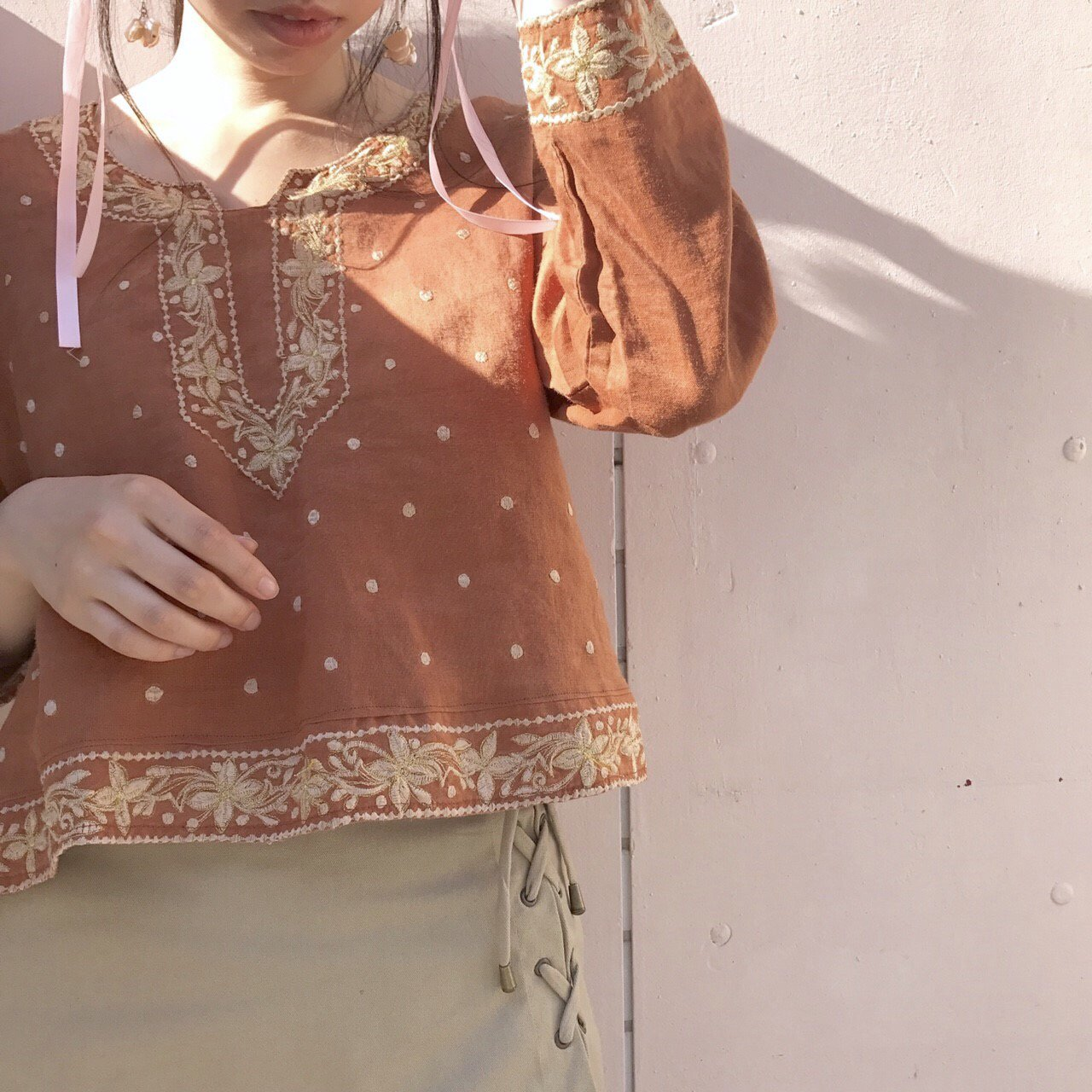gold embroidery brown tops