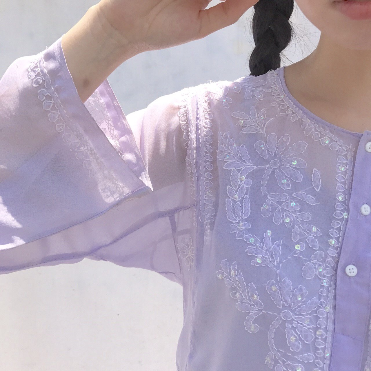 sheer lavender spangle tunic