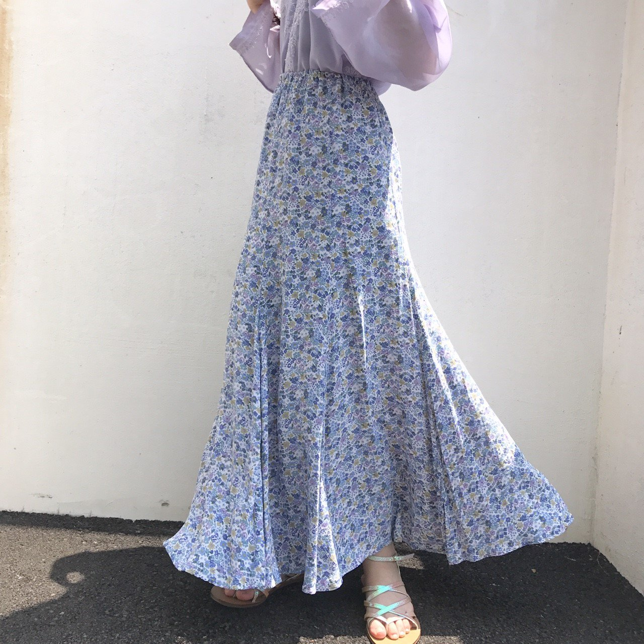 blue lavender flower long skirt