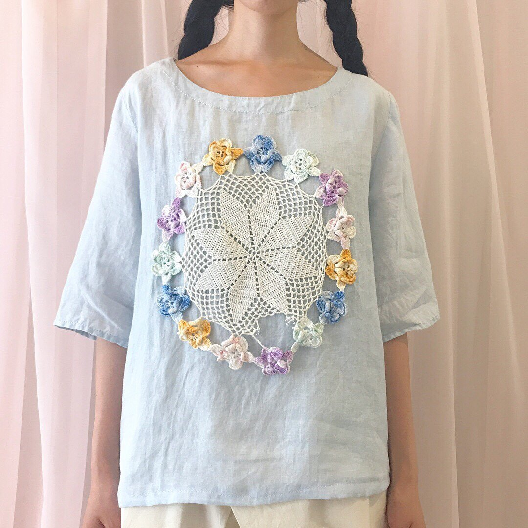flower circle lace linen tops