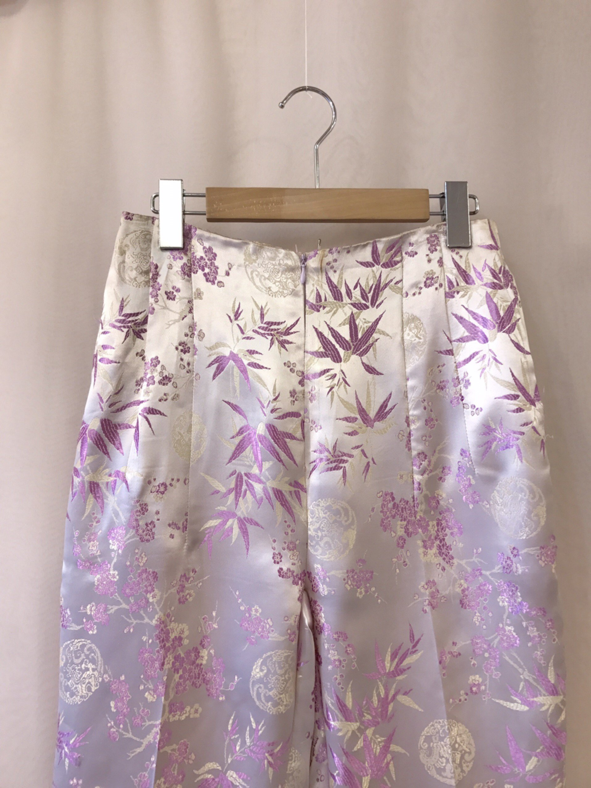 purple satin China pants