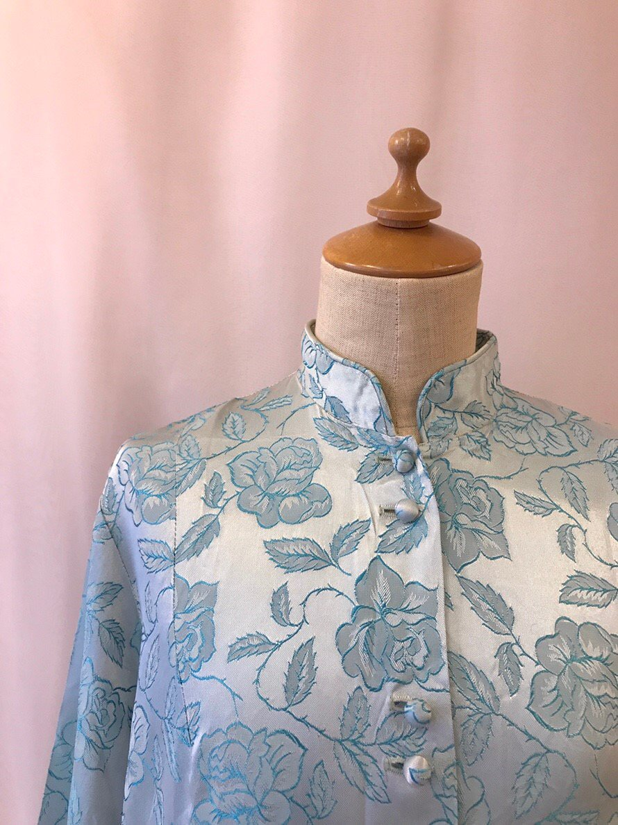 blue rose jacquard jacket