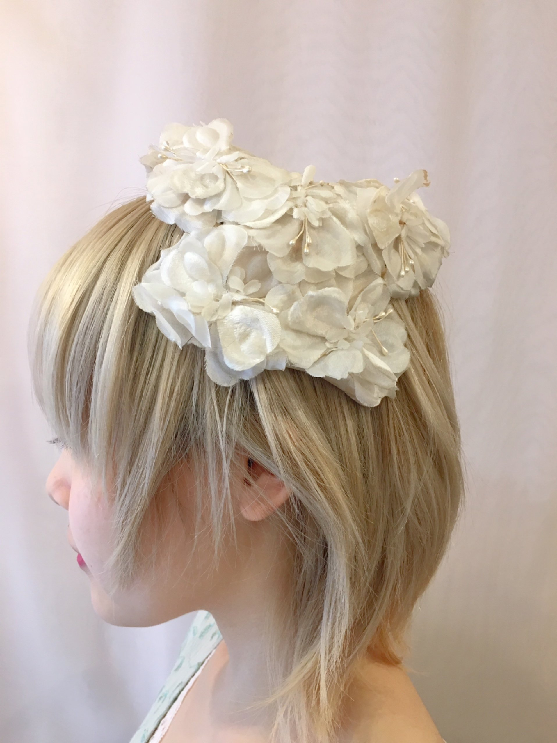 vintage white flower headdress
