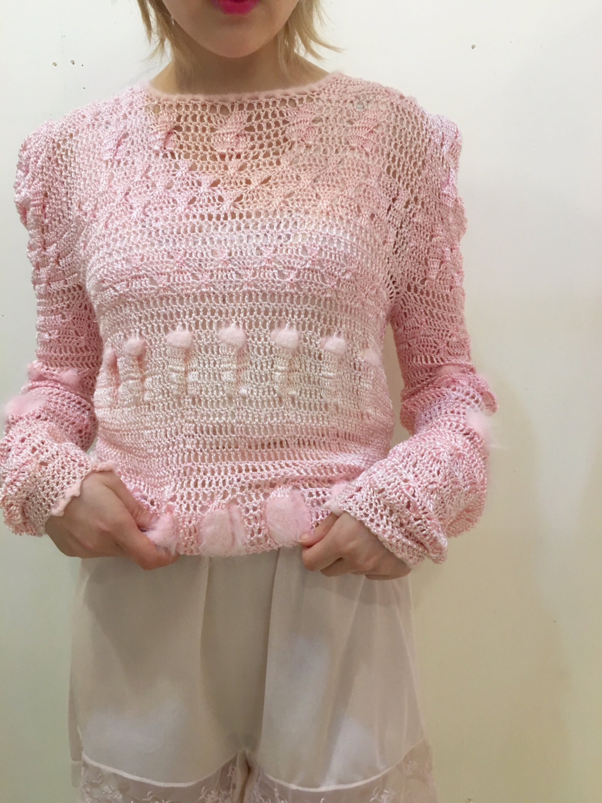 angora pink low gauge knit