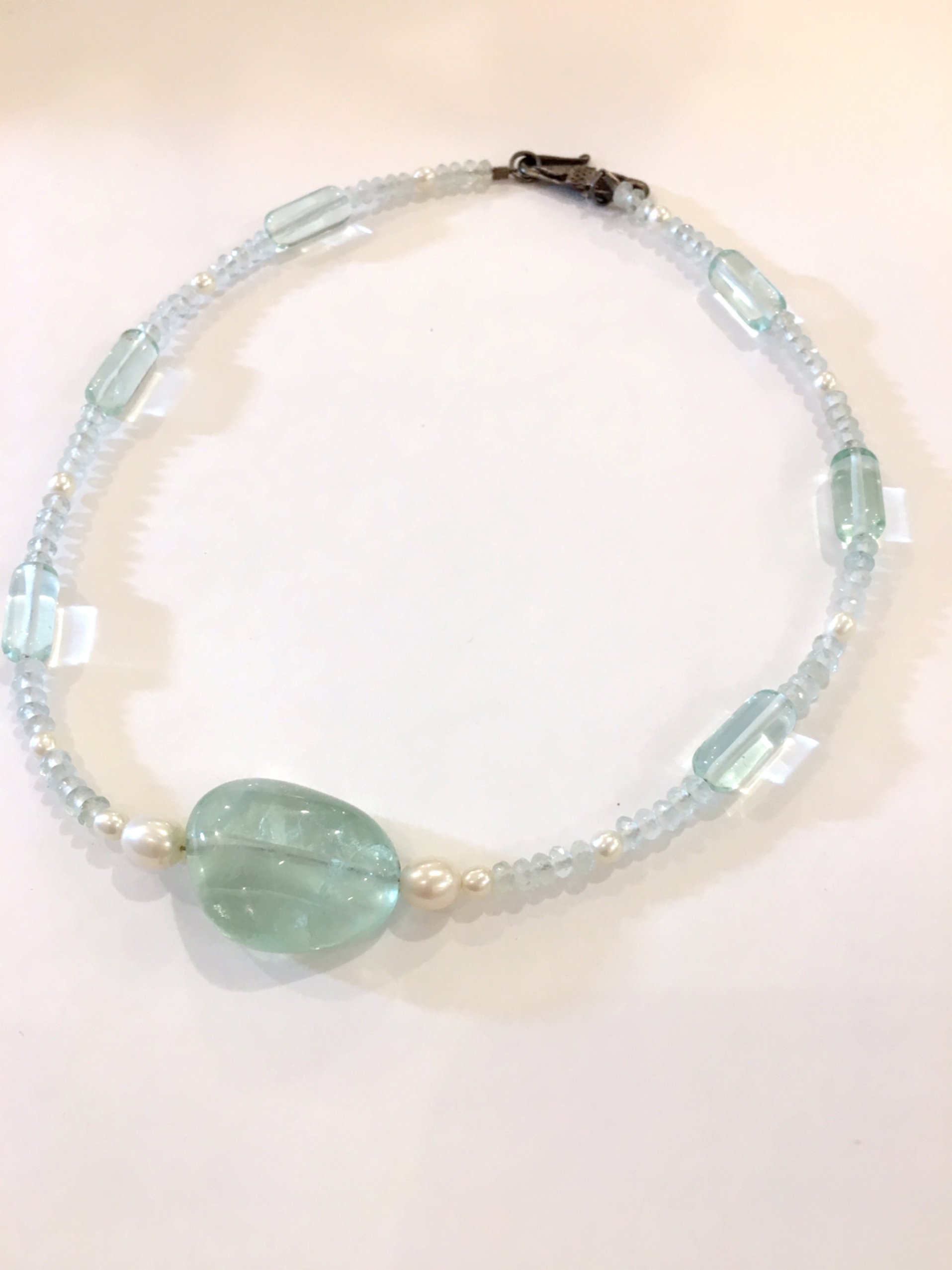 clear mint stone necklace