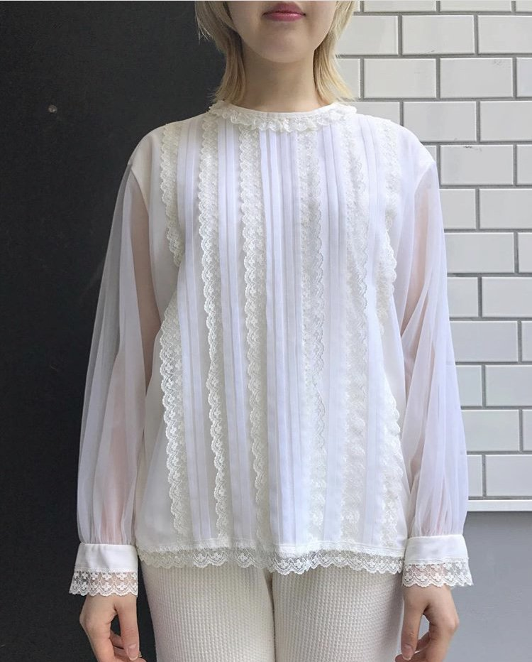 vintage sheer sleeve blouse
