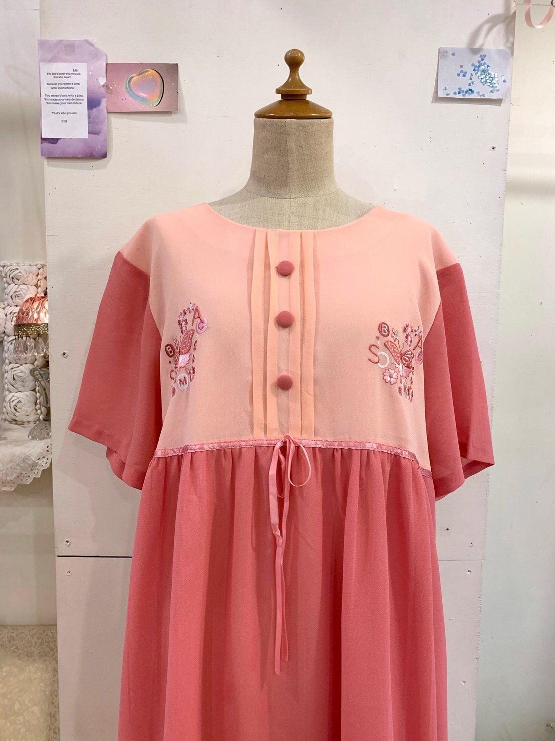 butterfly embroidery pink onepiece
