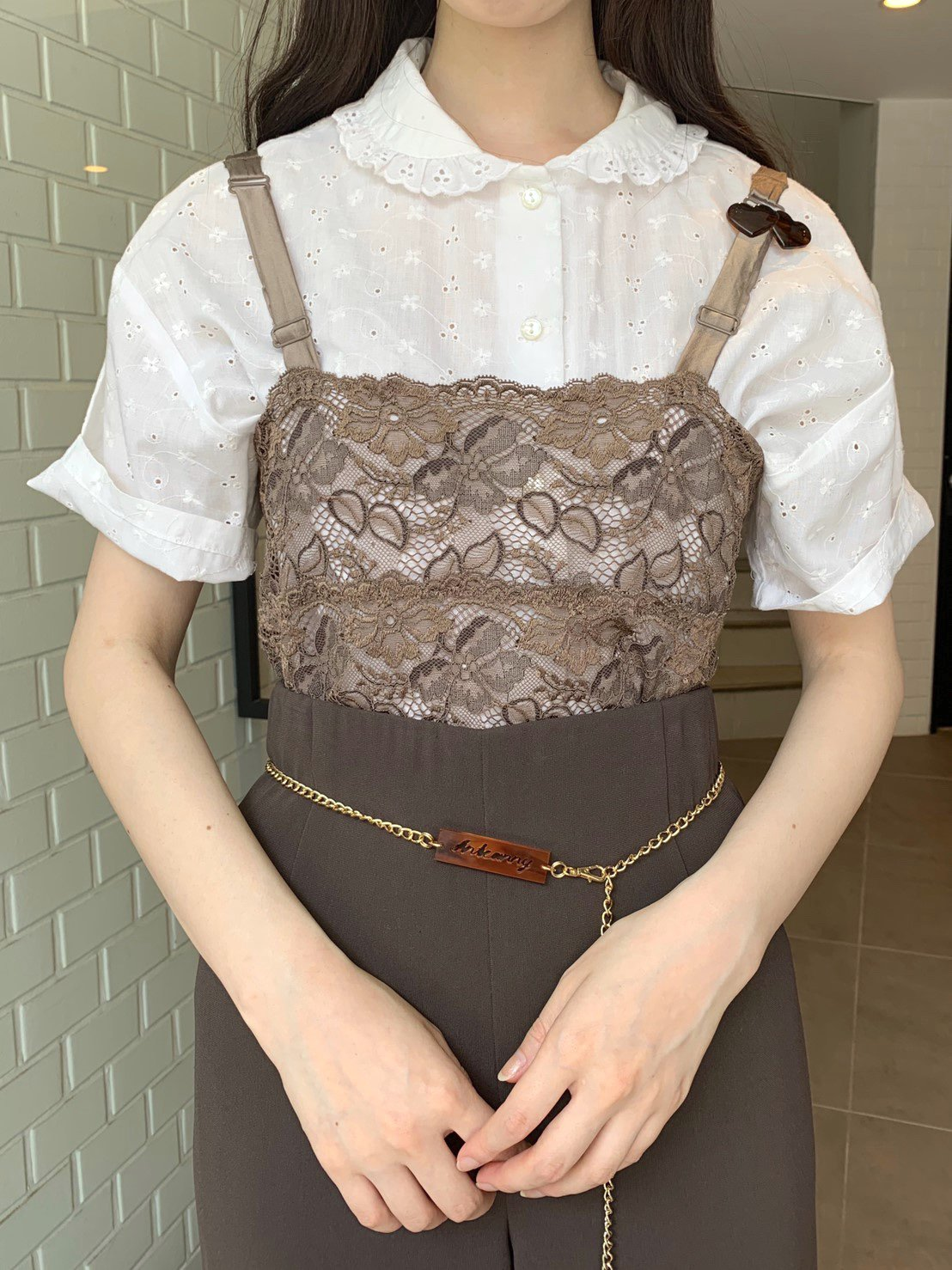 brown flower  lace camisole