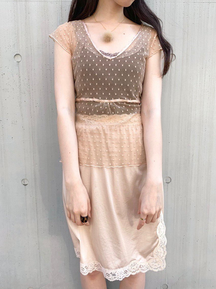 nudie beige dot sheer tops
