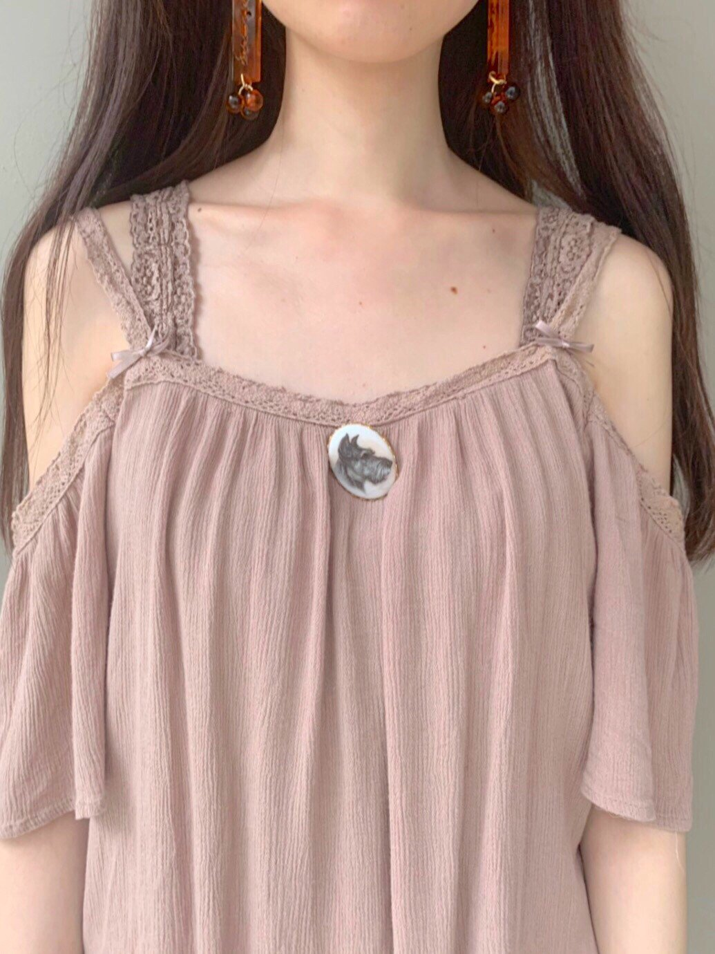 beige brown off shoulder tops