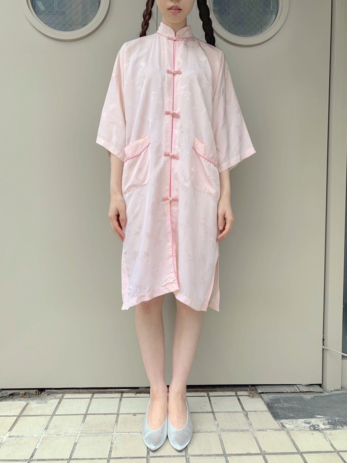 china. pink piping gown