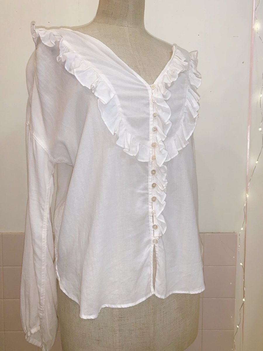powder white pink frill blouse