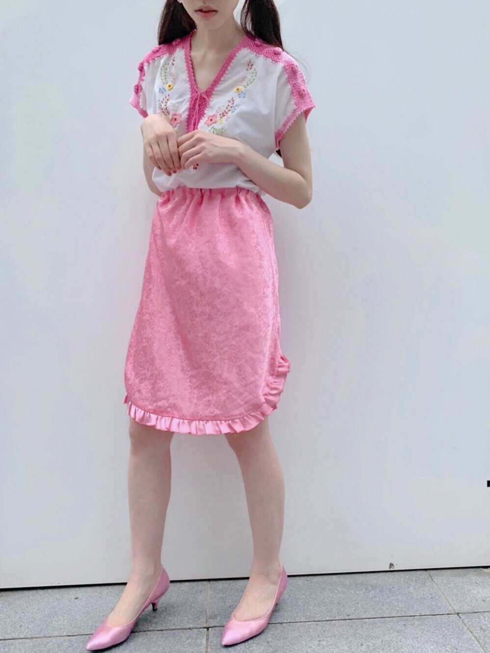 【SALE】rose pink jacquard frill skirt