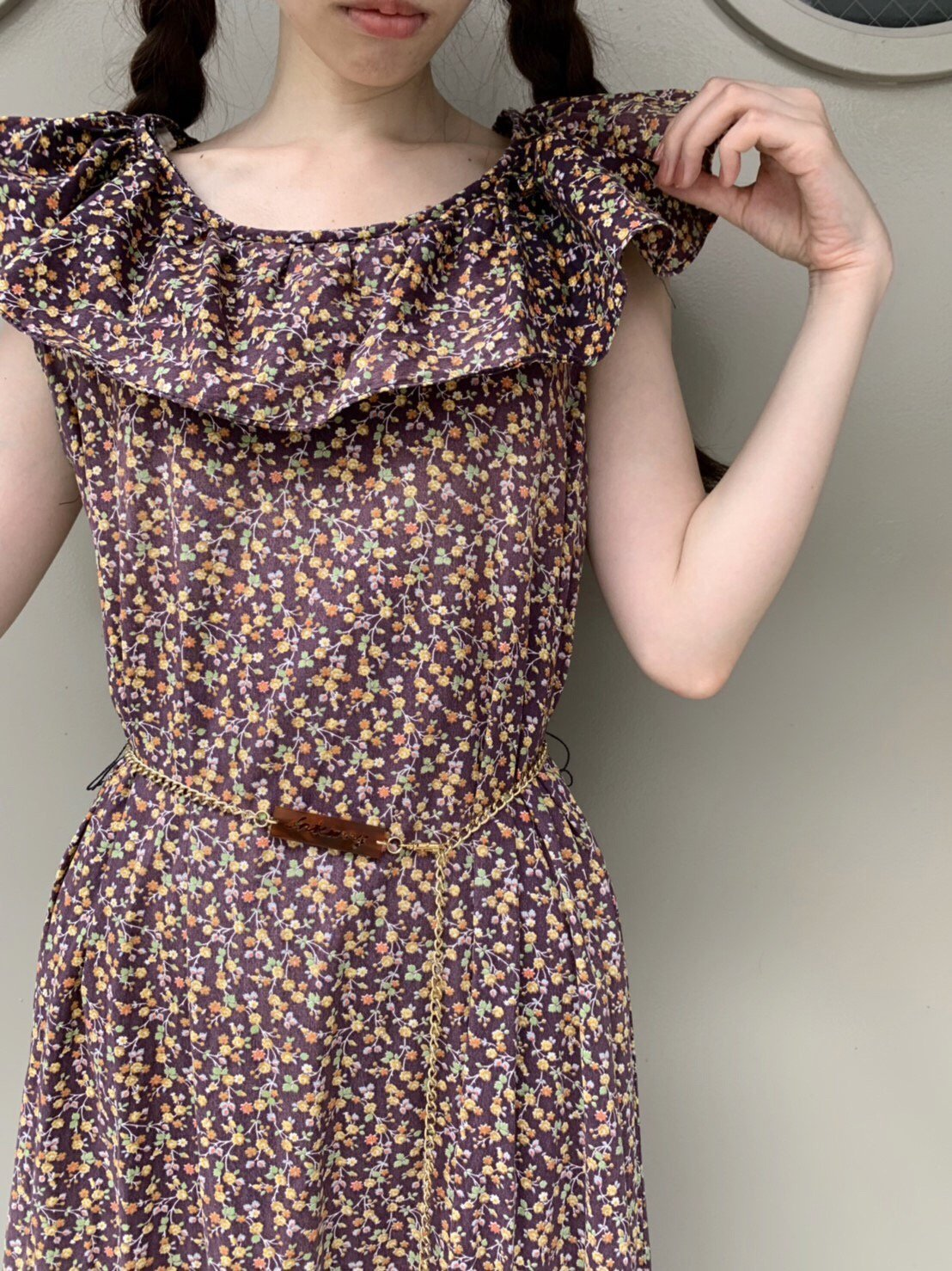 【SALE】chocolate brownie flower dress