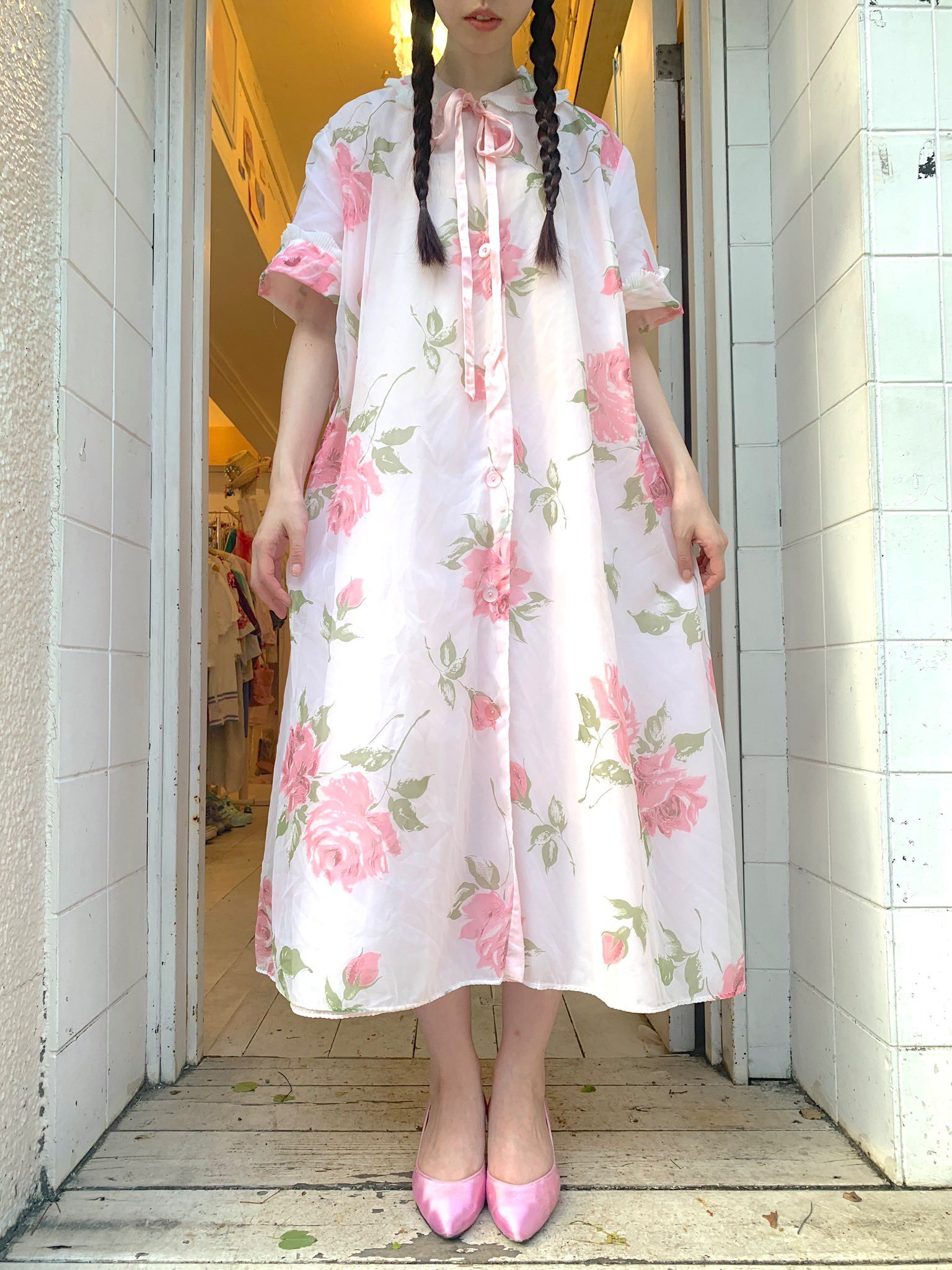 【SALE】rose pink organdy gown