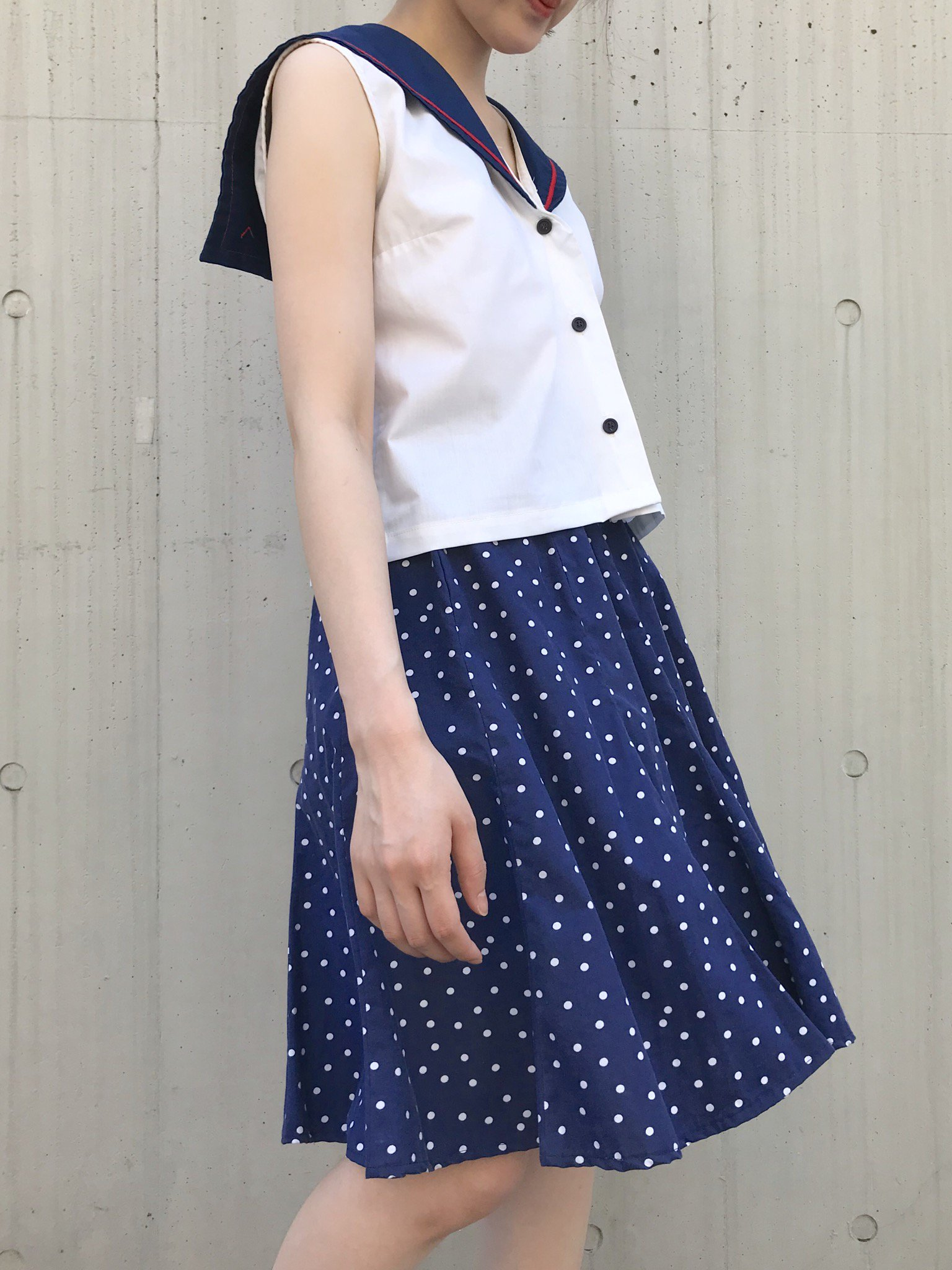 【SALE】navy dot  circular skirt