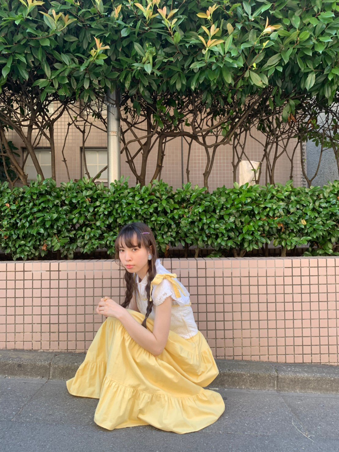【SALE】ribbon shoulder yellow onepiece
