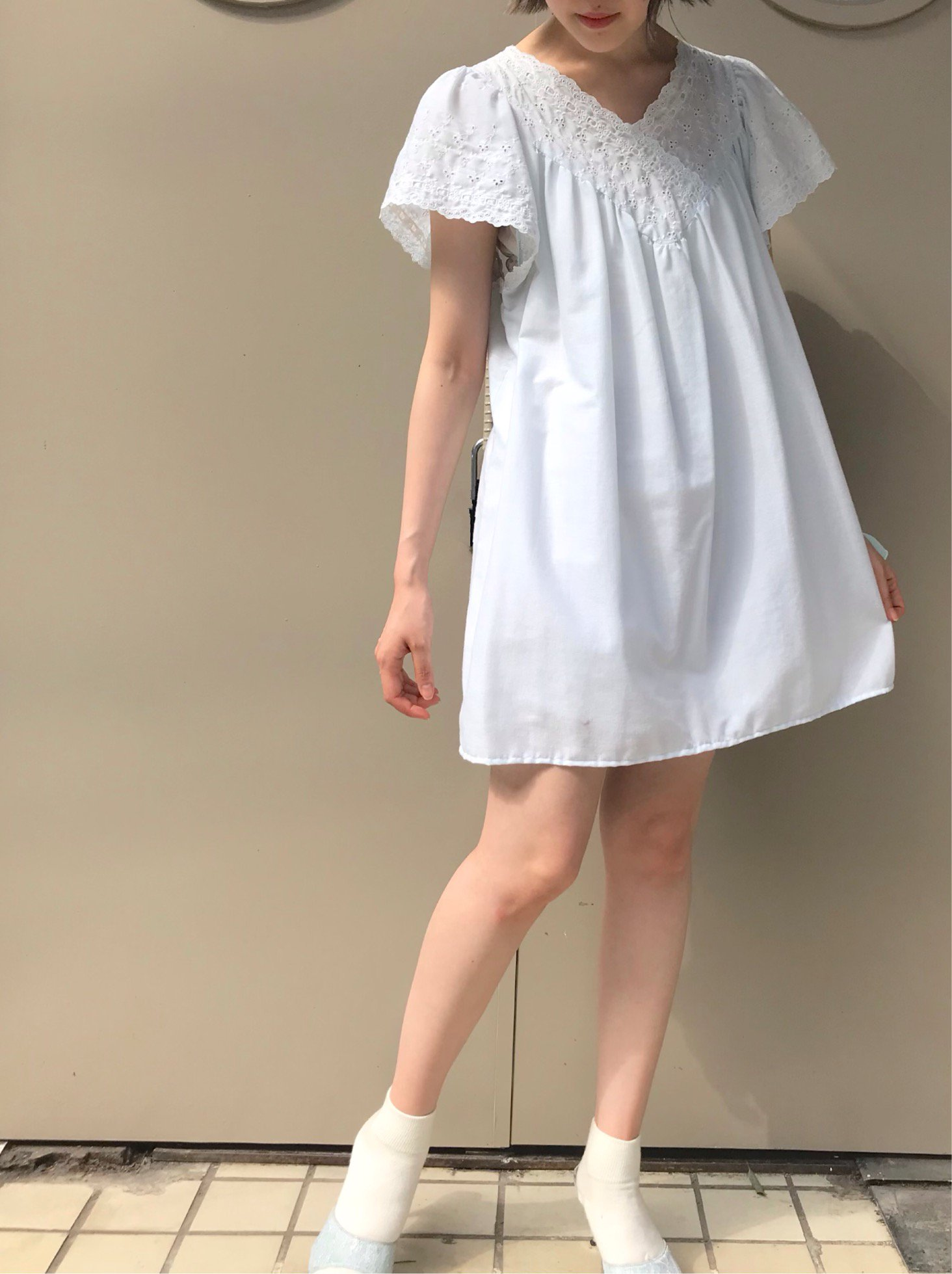 【SALE】baby blue puff sleeve mini one-piece