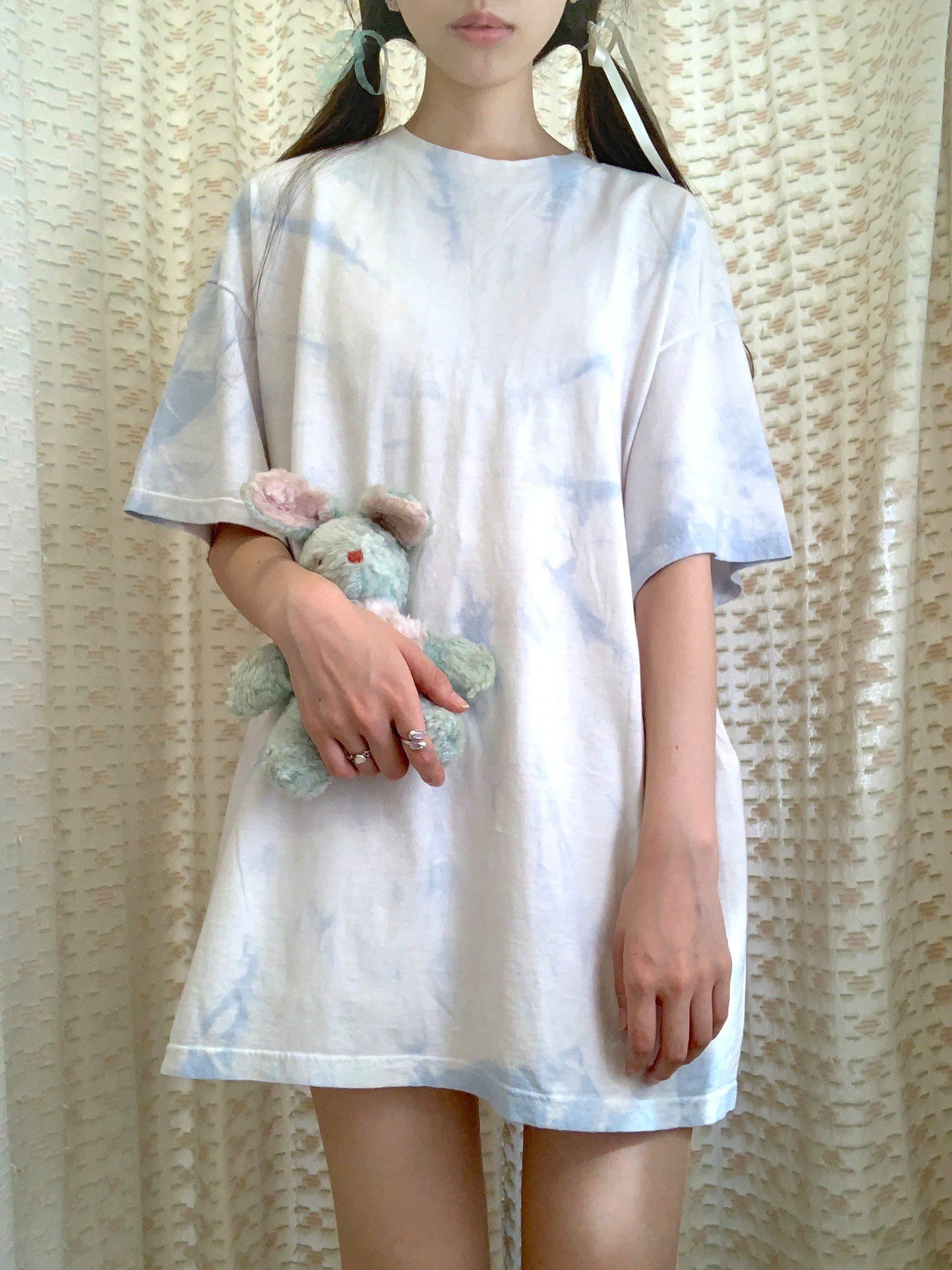 【SALE】tie-dye tee  big size(ice blue)