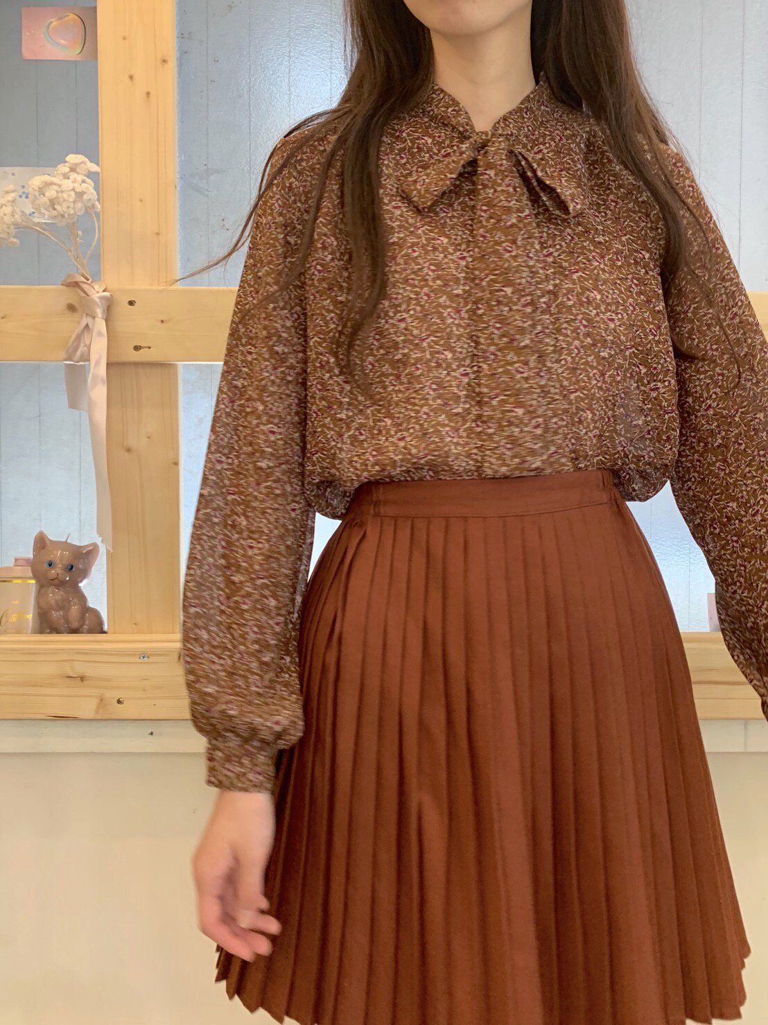 wine flower brown bowtie blouse