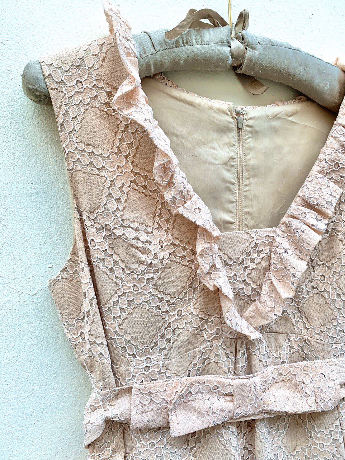 vintage dusty pink lace onepiece