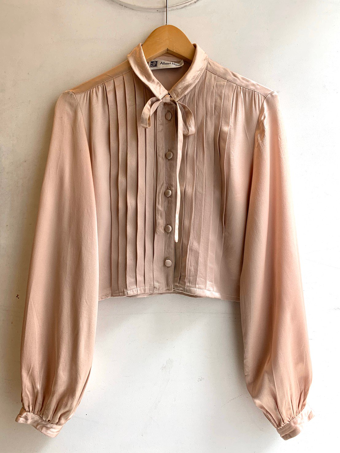 shiny beige ribbon blouse