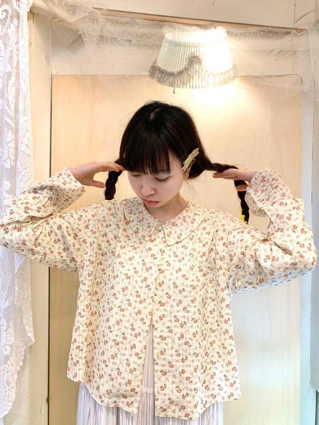 sheer flower open blouse