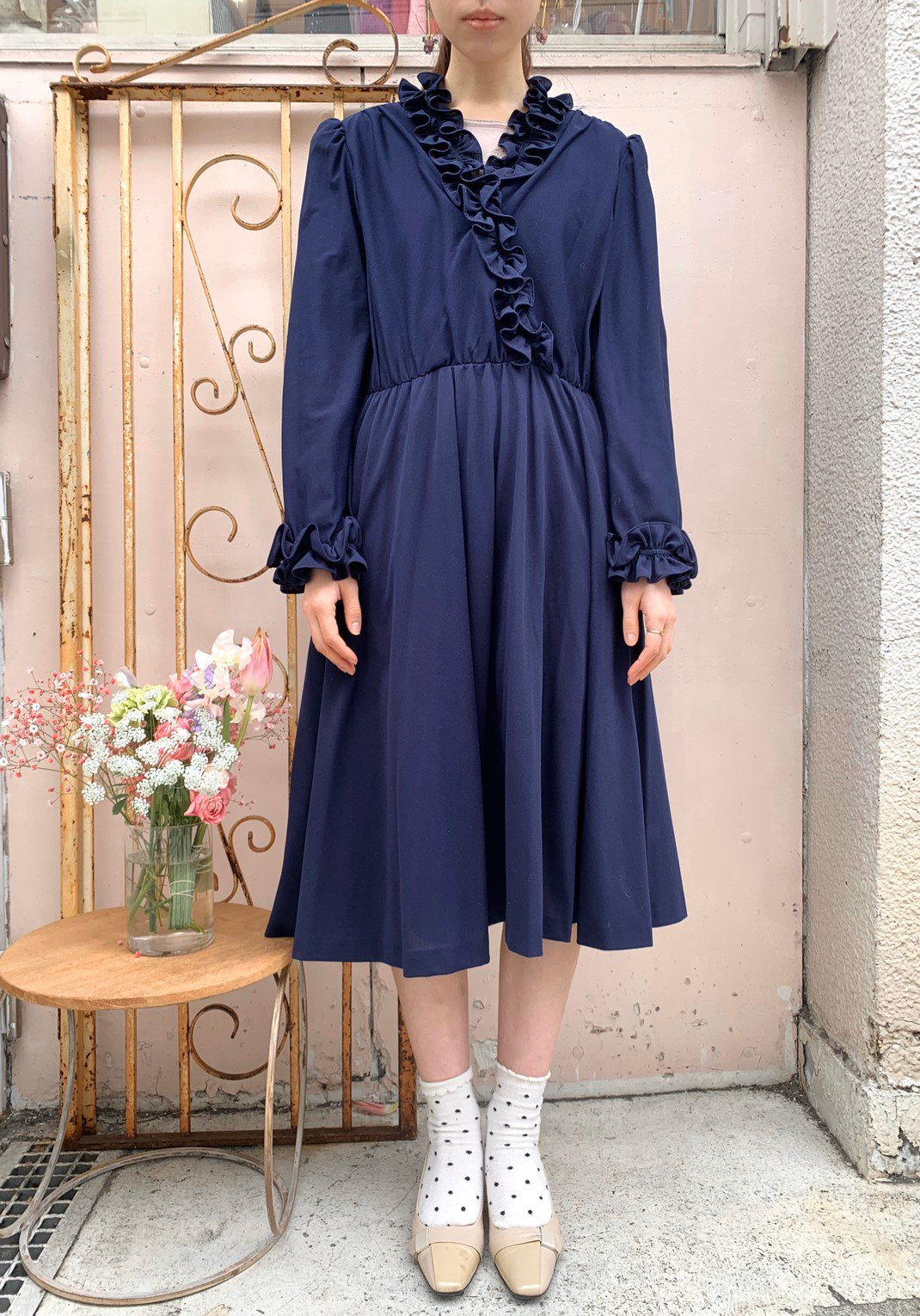 navy frill onepiece
