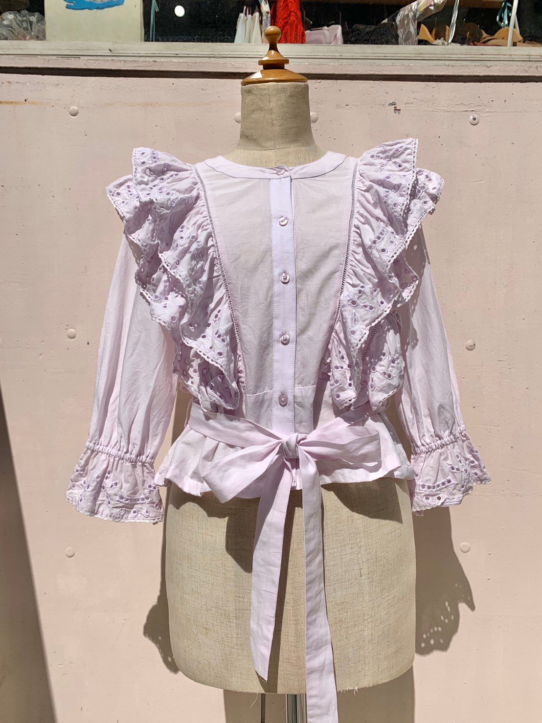 6.lavender frill blouse