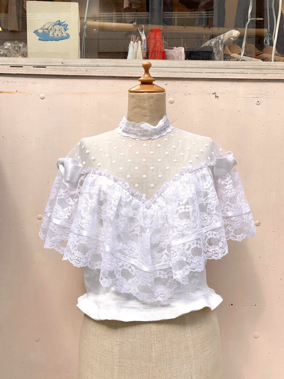 12.dot tulle  lace×ribbon tops