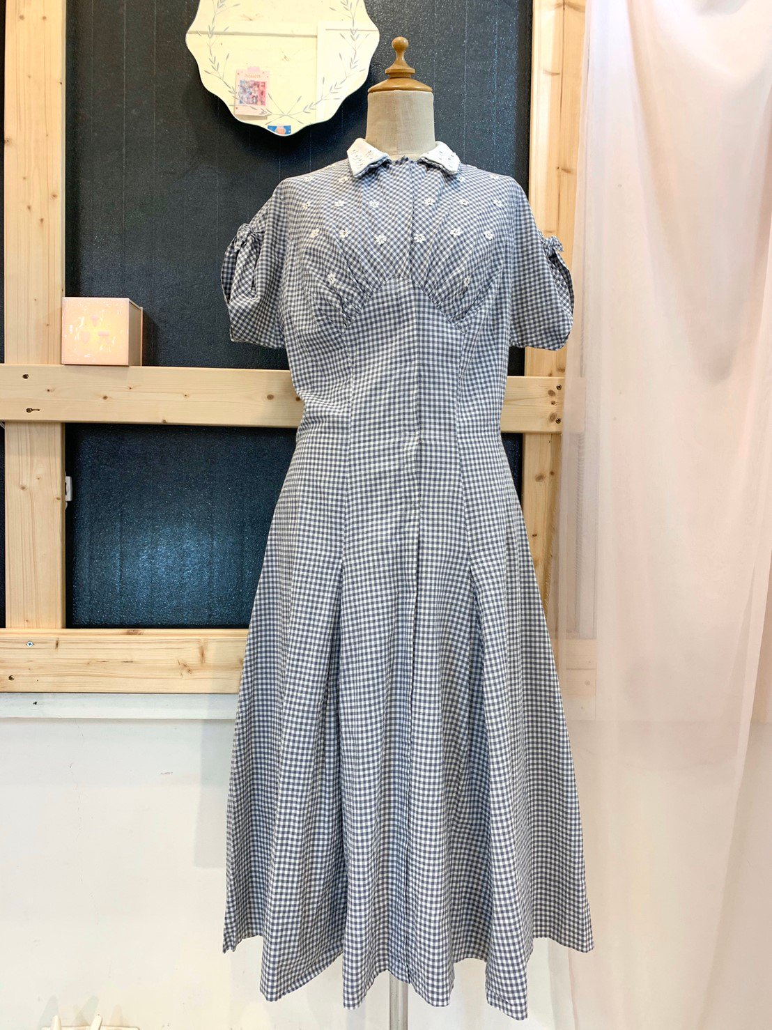 23.gingham check vintage onepiece