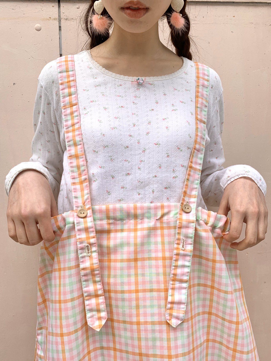 42.orange green pink check jumper skirt