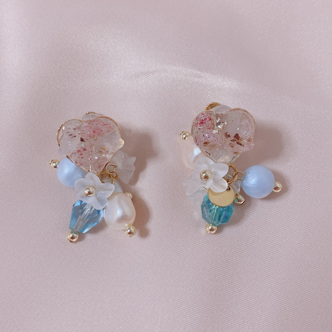"mimi × tvm ""vintage parts earring""ハートクォーツ"