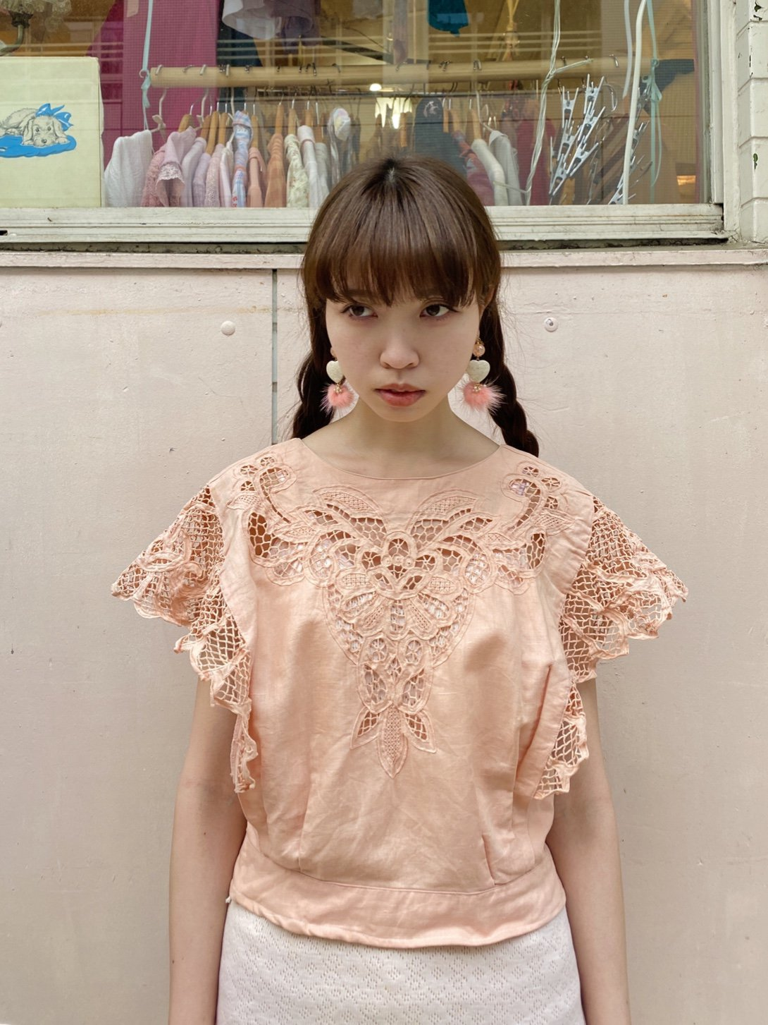 salmon pink cutwork tops