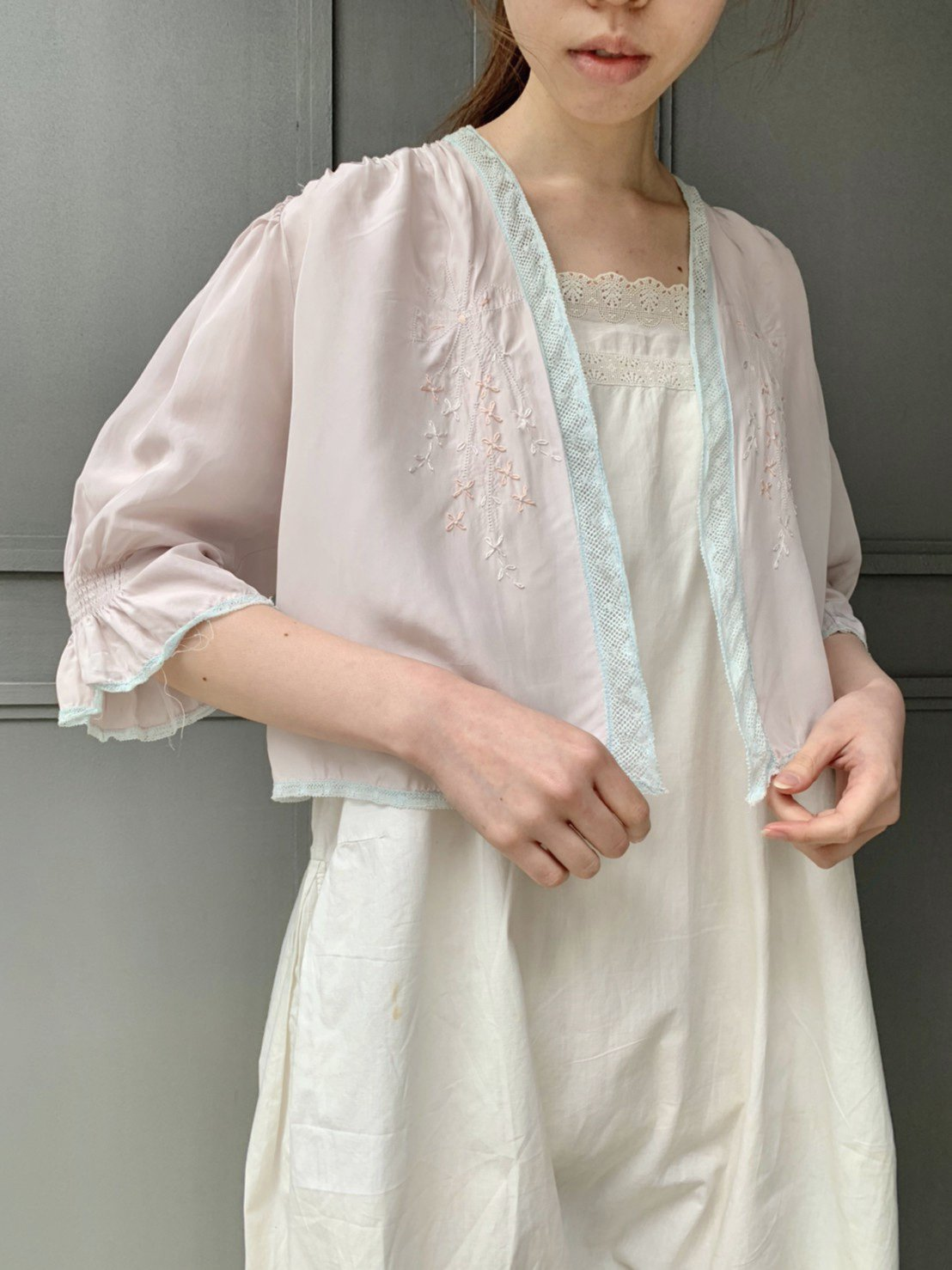 bed jacket(white lavender×水色)