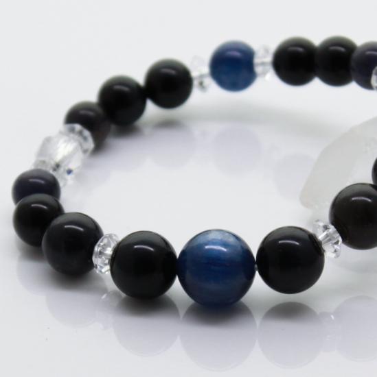 【金運】意思を明確にし、迷いを取り去る カイヤナイト&タイガーアイ(ブルー) 15cm