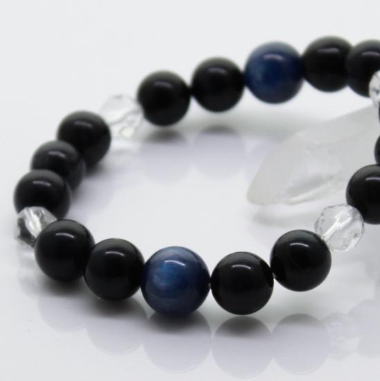 【金運】意思を明確にし、迷いを取り去る カイヤナイト&タイガーアイ(ブルー) 16cm