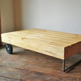 ローテーブル ホイール付き / 鉄 : 木