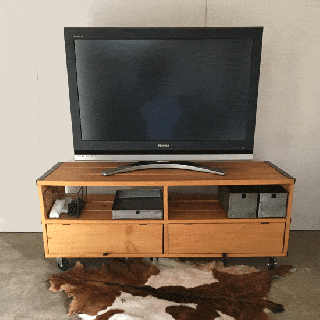 TV ラック ホイール付き / 木 : 鉄