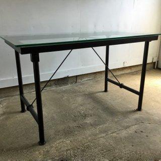 ガラス天板 1500+アイアン 脚 フレーム ダイニングテーブル (IFN-79G)
