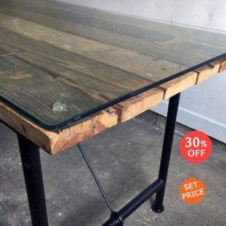 古材 ダイニングテーブル 天板-1500+ガラスset (IFN-82G)
