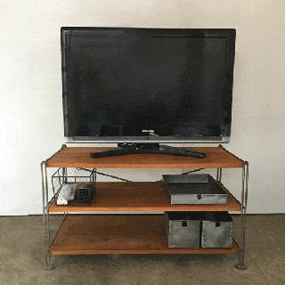 アイアン シェルフ -C / テレビ台 / チーク 無垢板 棚3段 ノックダウン式 W880xH470mm