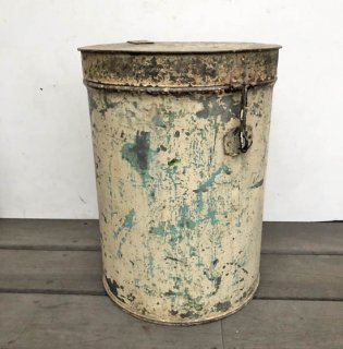 【VINTAGE FAIR!!】アイアン ビンテージ キャニスター 円筒形 ふた付き容器 H400mm 送料無料 (UBX-114)