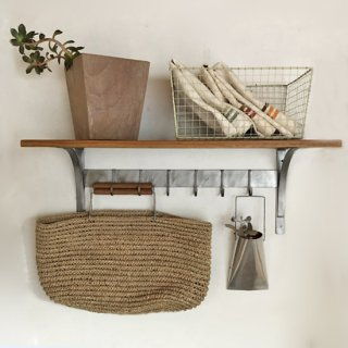 【X'mas SALE対象品】ウォールラック キッチンシェルフ-M / 6フック W600mm (OIR-007)<img class='new_mark_img2' src='https://img.shop-pro.jp/img/new/icons24.gif' style='border:none;display:inline;margin:0px;padding:0px;width:auto;' />