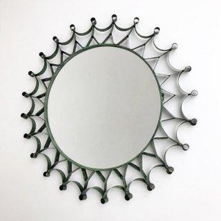 アイアン 円形 壁掛けミラー /グリーン HAND IN HAND / 鏡  鉄 / 直径36cm