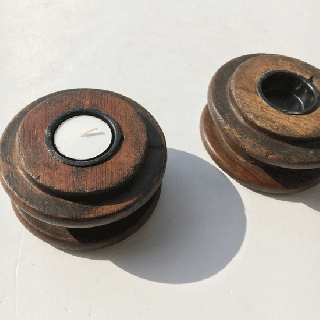 キャンドル ホルダー : ビンテージ / 木製 糸巻き*【SDGs】(DIX-12)