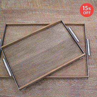 トレイ(L) オールドチーク + アイアン W485mm 【SDGs】(OIR-060)