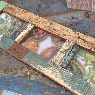 フォトフレーム ボート古材 木枠 写真立て (ポストカード / 3枚用)